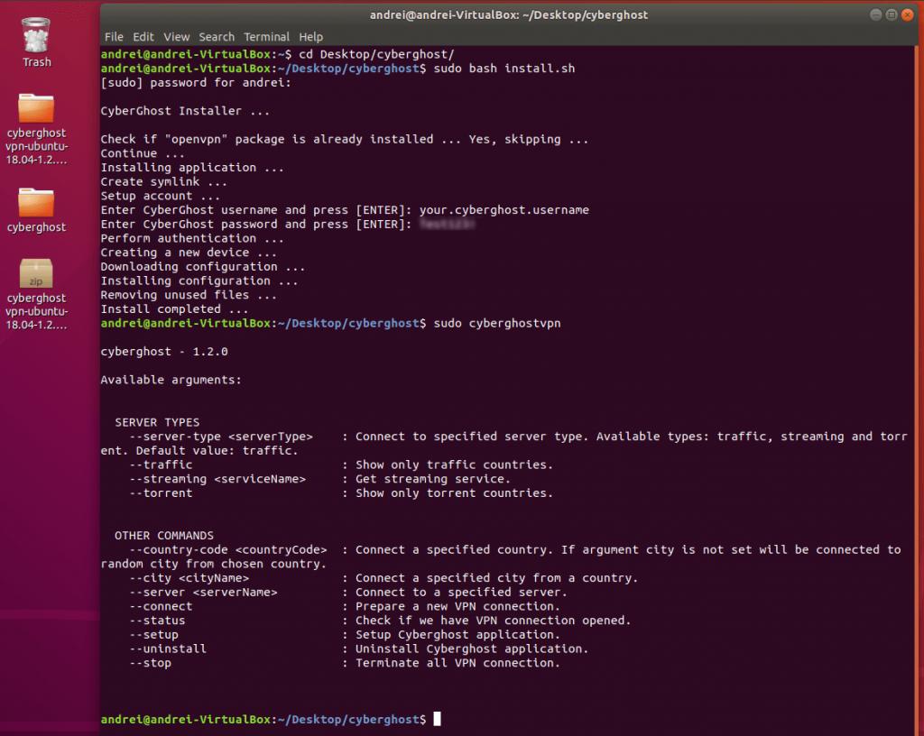 cyberghost linux