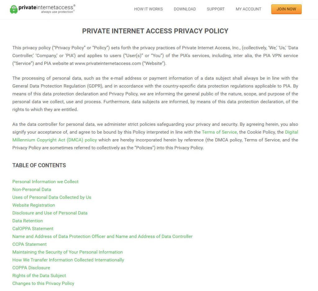 pia privacy policy