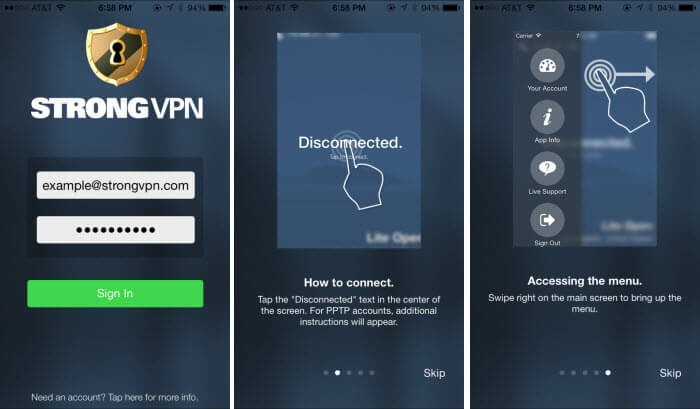 StrongVPN Iphone app interface