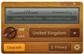 TunnelBear standaard scherm
