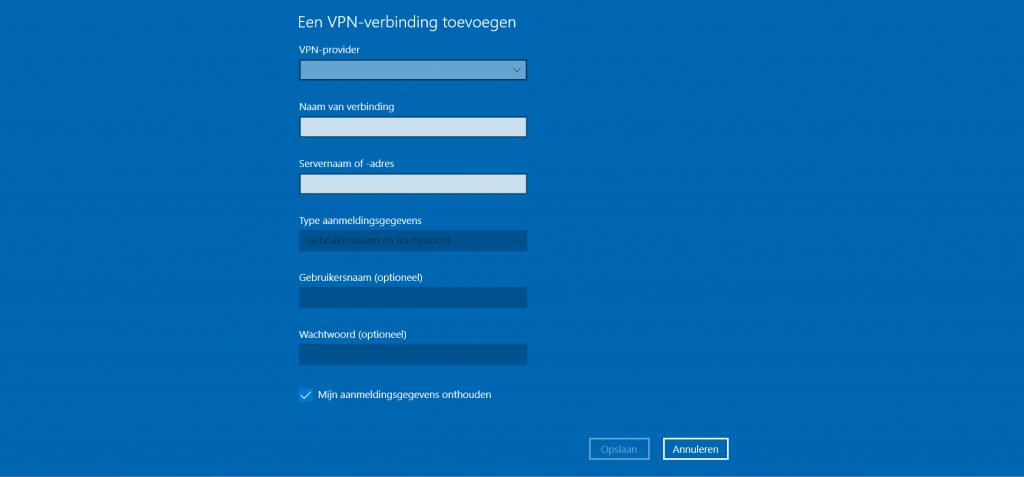 VPN toevoegen menu
