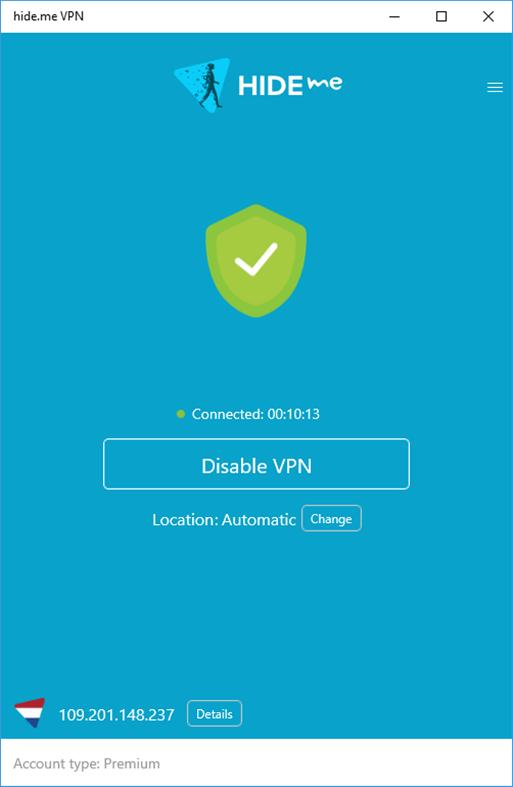 Hide.me VPN verbonden