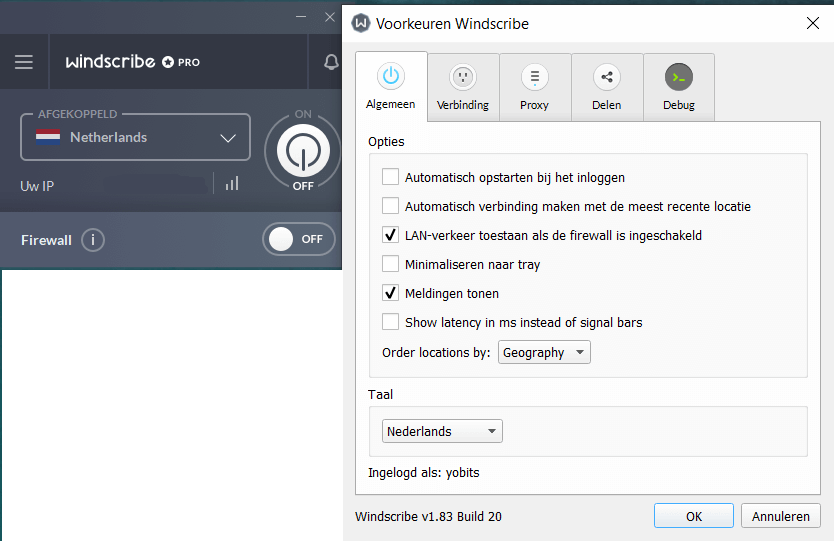 Windscribe VPN op Windows
