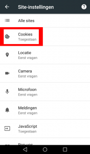 Android Chrome cookies instellingen