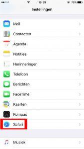 iOS safari instellingen kiezen