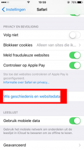 iOS Safari wis data optie
