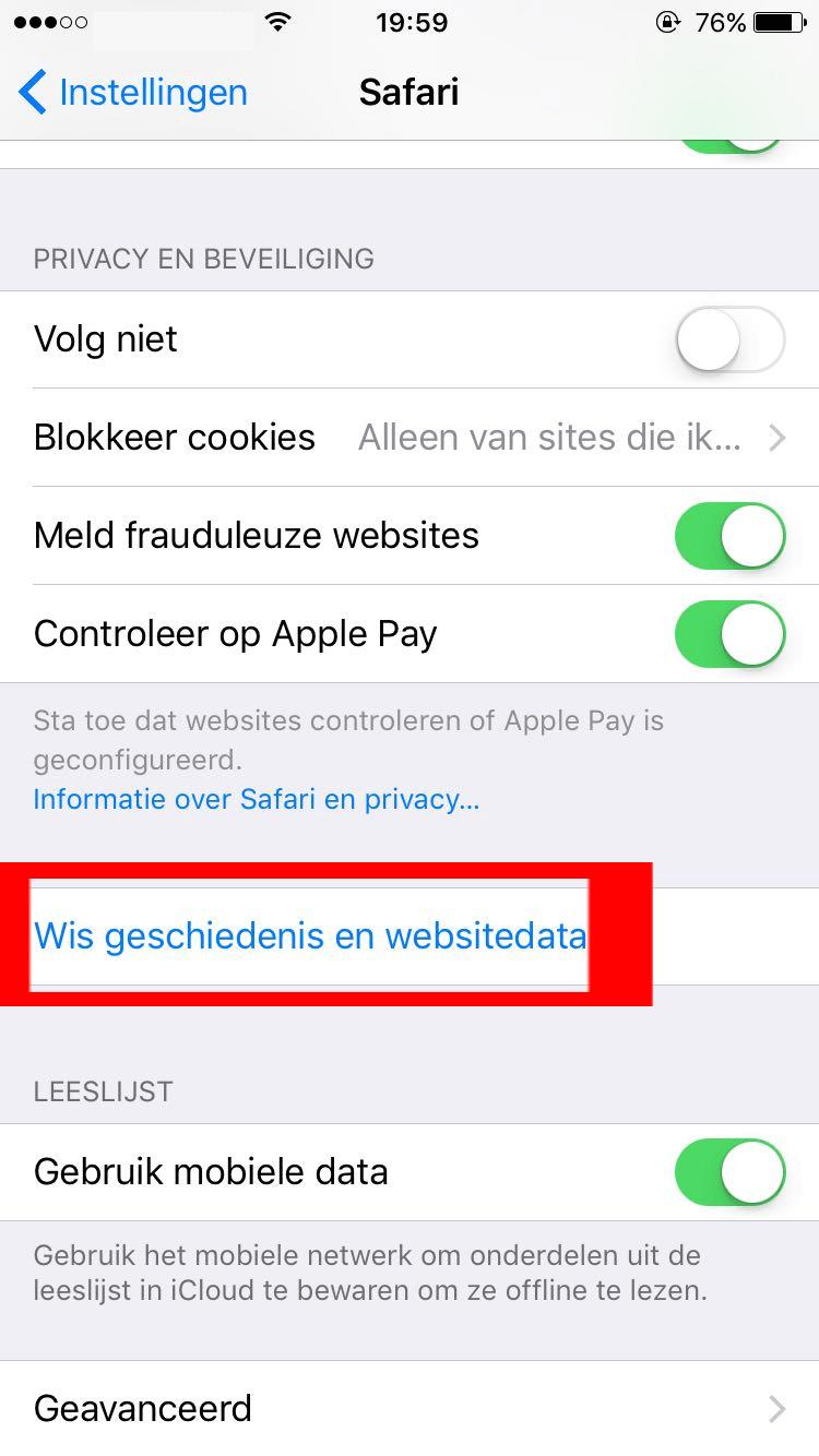 iOS Safari wis data optie