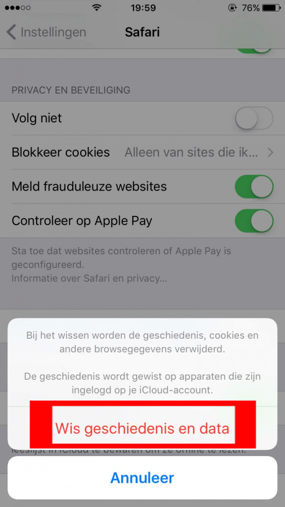 iOS Safari website geschiedenis en data wissen