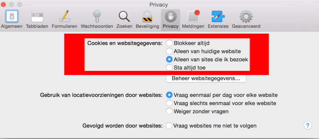 OS X Safari cookie instellingen