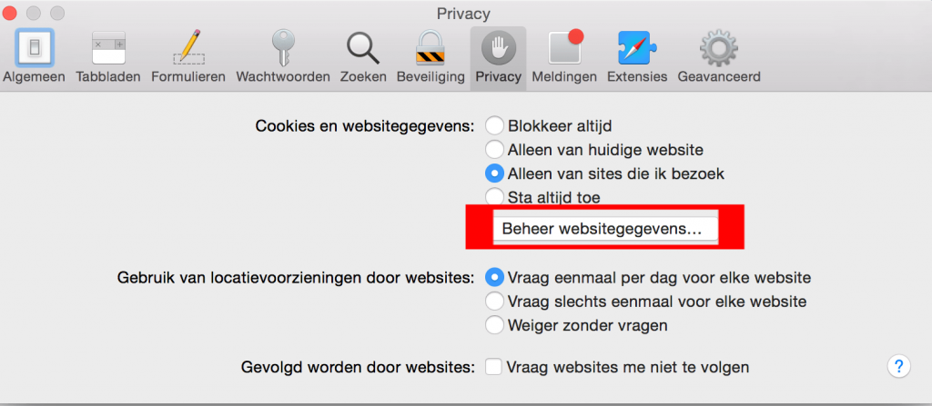 OS X Safari beheer websitegegevens