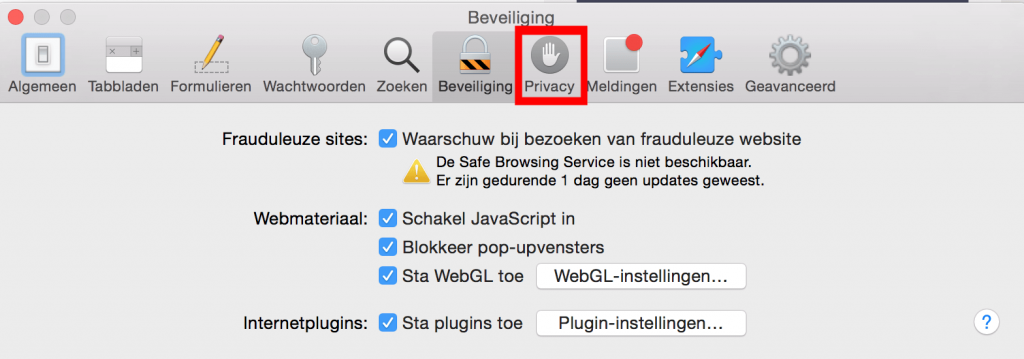 OS X Safari geschiedenis privacy optie