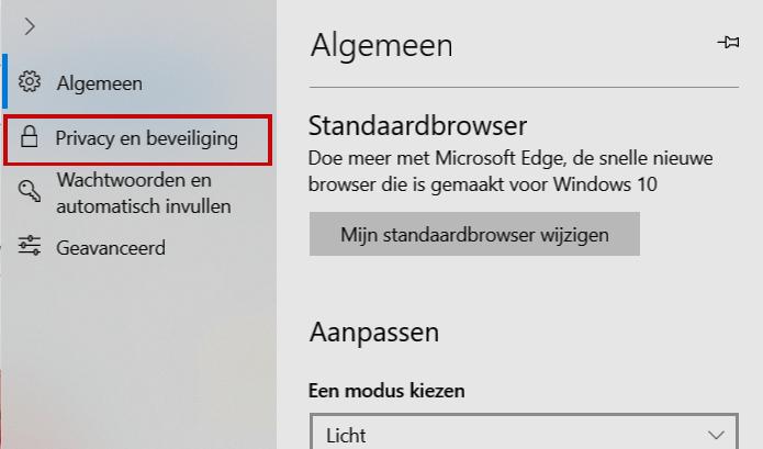 privacy beveiliging Microsoft Edge