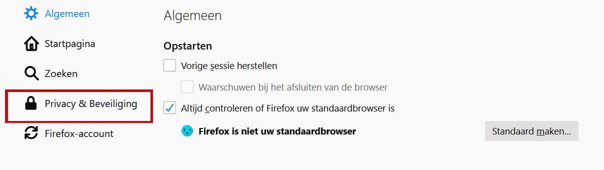 privacy beveiliging Firefox