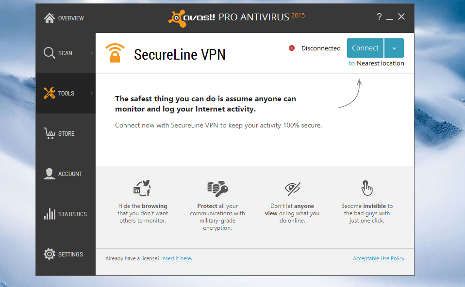 Avast Secureline op Windows