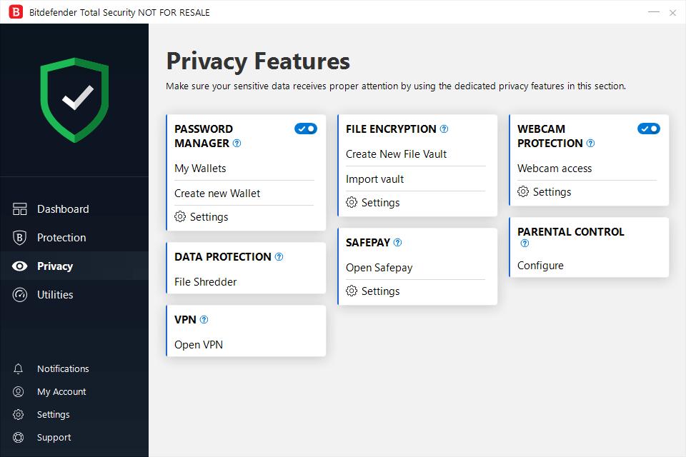 privacy scherm bitdefender