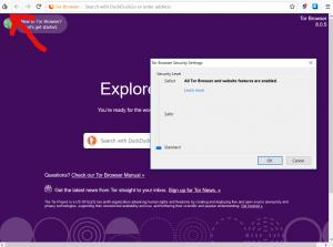 Beveiligingsinstellingen TOR browser