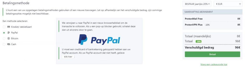 protonvpmn betaling met paypal