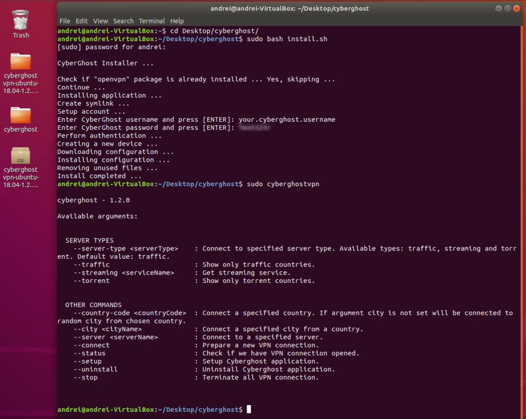 CyberGhost VPN Linux interface