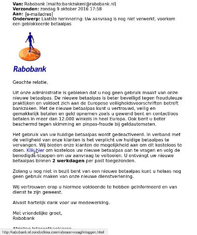 phishing email voorbeeld internetbankieren