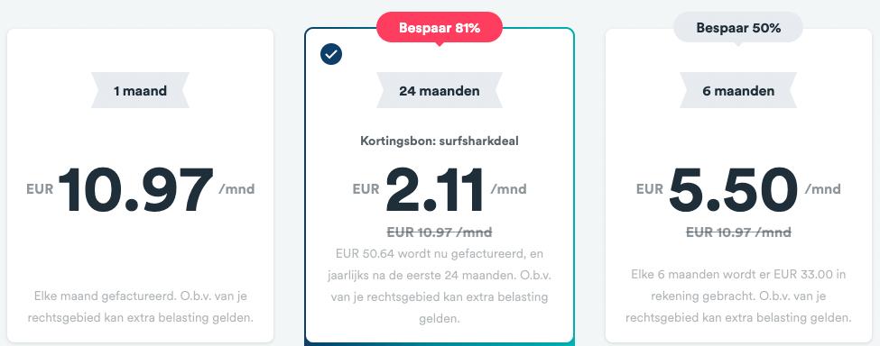 Wat kost Surfshark prijzen 2021