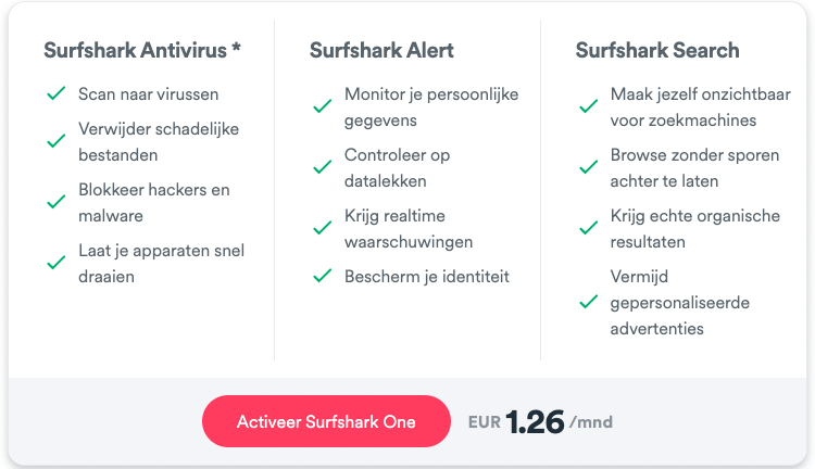 Surfshark One opties