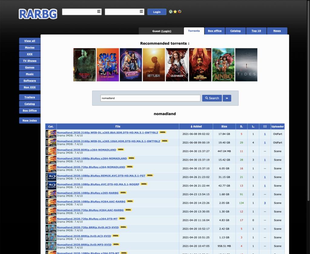 Screenshot van RARBG een van de beste torrent sites