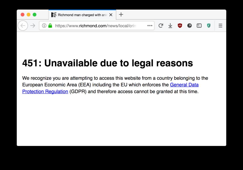 geblokkeerde website met http code 451
