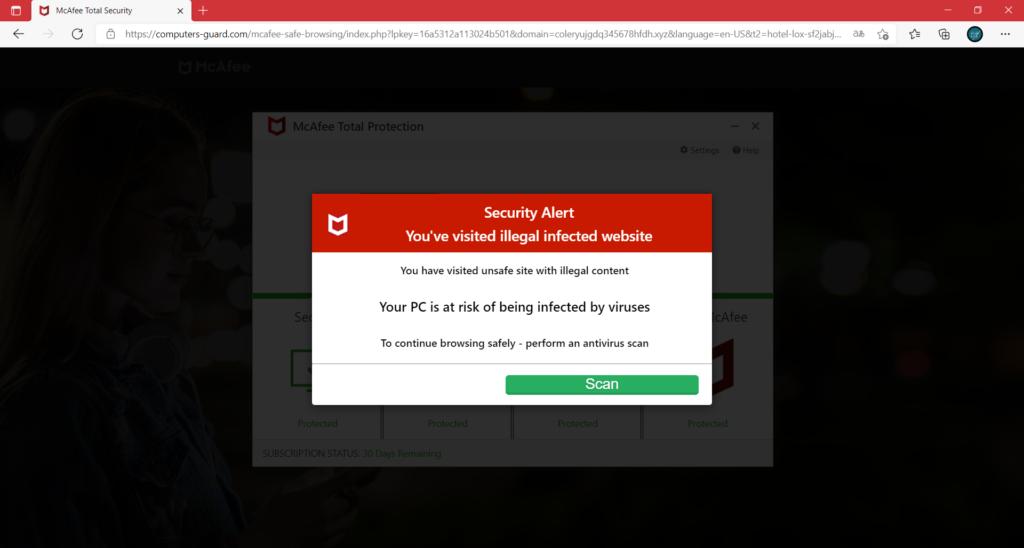 een veiligheidswaarschuwing van een adblocker