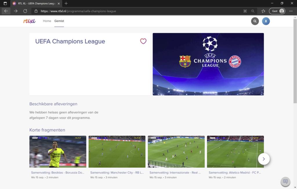 Champions League op RTL XL streamen